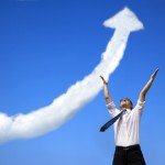 success businessman with business growing graph  cloud